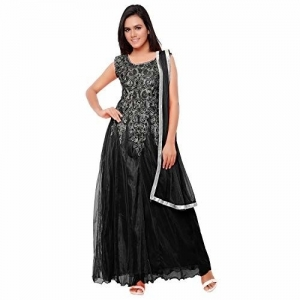 AAINA Women's Black Net Embroidery stitched Gown(GC046,Free Size)