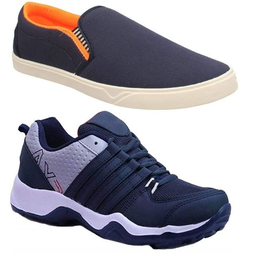Chevit Combo Pack of 2 Casual & Sports Shoes (Loafers Shoes) Running Shoes For Men(Blue, Grey)