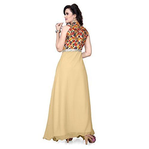 K.K. Fashions Beige Geogrette Jhanvi Gown