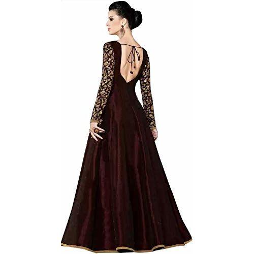 Bhurakhiya Maroon Heavy Embroidered Semi Stitched Anarkali Gown