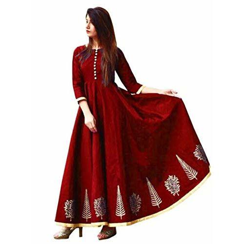 Saptarangi Taffeta Silk Gown (Daman Red_Red_Free Size)