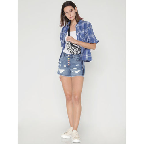 ONLY Women Blue Washed Slim Fit High Distressed Denim Shorts