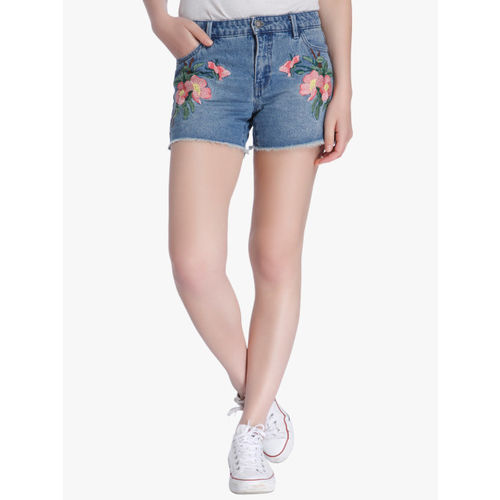 ONLY Women Blue Washed Regular Fit Denim Shorts