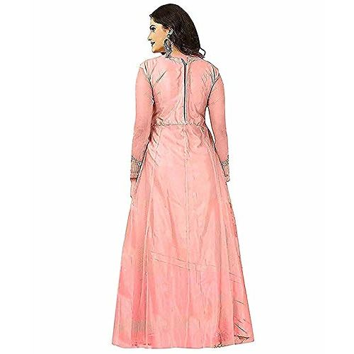 Class clothing Peach Net Heavy Embroidered Semi Stitched Anarkali Gown