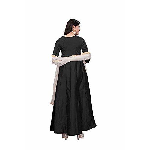 Karm Enterprise Black Taffeta Silk Plain Anarkali Long Gown