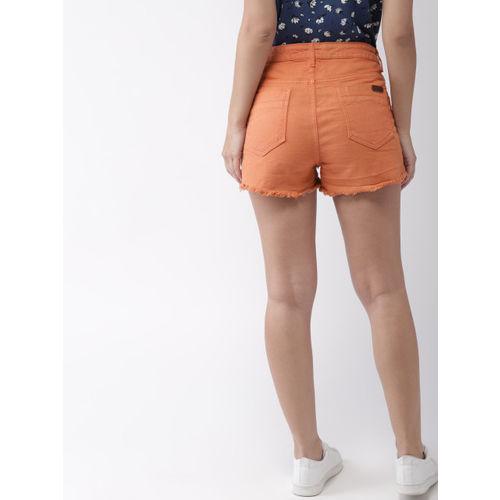 Mast & Harbour Women Rust Brown Solid Regular Fit Denim Shorts
