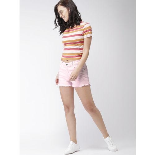 Mast & Harbour Women Pink Solid Regular Fit Denim Shorts