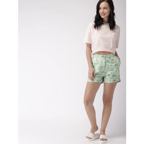Mast & Harbour Women Green Printed Shorts
