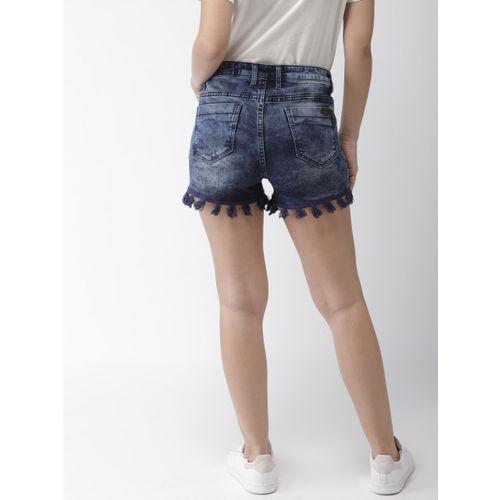 Mast & Harbour Women Blue Washed Slim Fit Denim Shorts