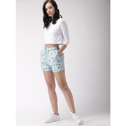 Mast & Harbour Women Blue Printed Shorts