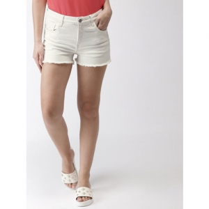 Mast & Harbour Women Off-White Solid Regular Fit Denim Shorts