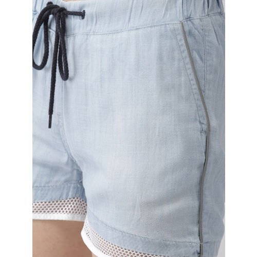 Mast & Harbour Women Blue Solid Regular Fit Regular Shorts