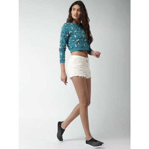 Mast & Harbour Women White Solid Regular Fit Denim Shorts