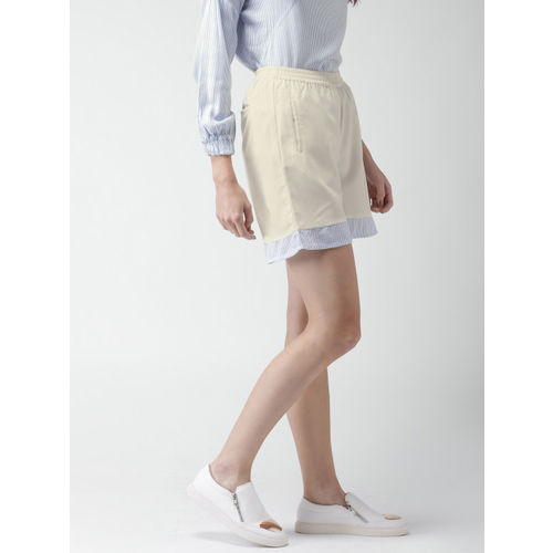 Mast & Harbour Women Off-White Solid Shorts