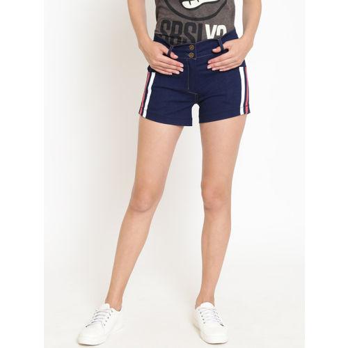 Rider Republic Women Navy Blue Solid Regular Fit Denim Shorts