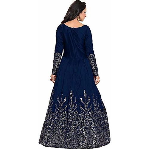 Drashti villa Blue Embroidered Semi Stitched Anarkali Gown