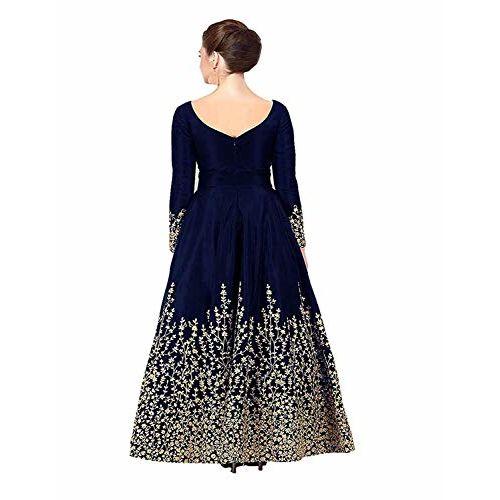 Fast Fashions Women's Taffeta Silk Semi Stitched Anarkali Gown (Free Size_Blue)