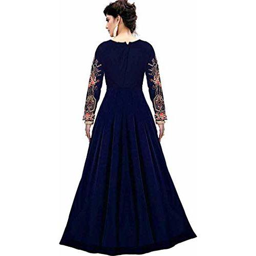 Bhurakhiya Women's Silk Phantom Semi-stitched Gown with Dupatta (Jk-9, Free Size)