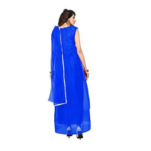 VKARAN Blue Net Semi-stitched Gown