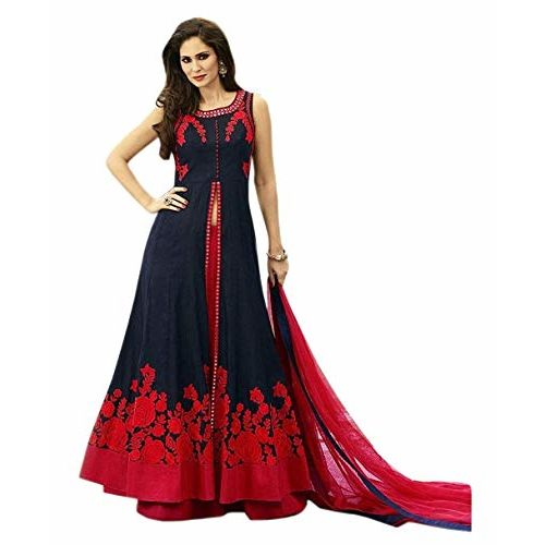 Ghaludi Fab Blue Embroideried Semi-stitched anarkali Gown