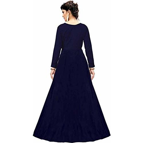 Fast Fashions Blue Taffeta Silk Semi-stitched Anarkali Gown