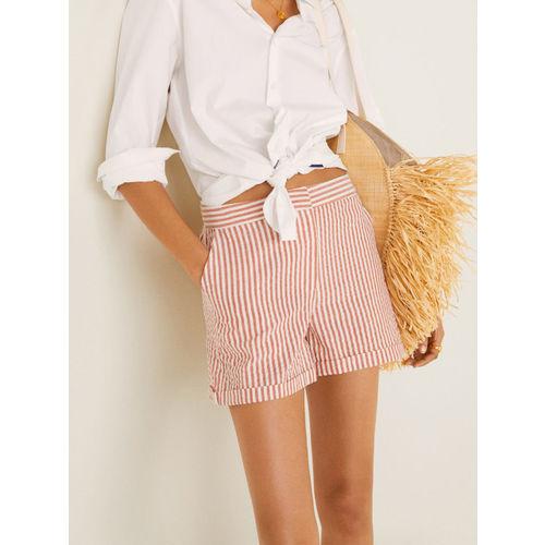 MANGO Women Rust Red & Off-White Striped Regular Shorts