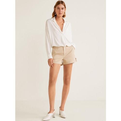 MANGO Women Beige Solid Regular Fit Chino Shorts