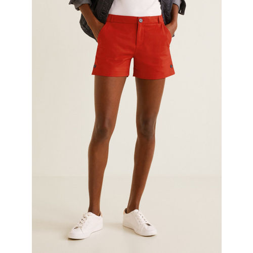 MANGO Women Red Solid Shorts