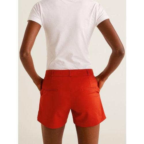 MANGO Women Red Solid Shorts