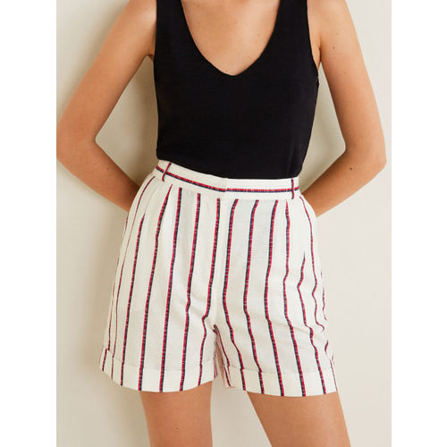 MANGO Women White & Red Striped Regular Shorts