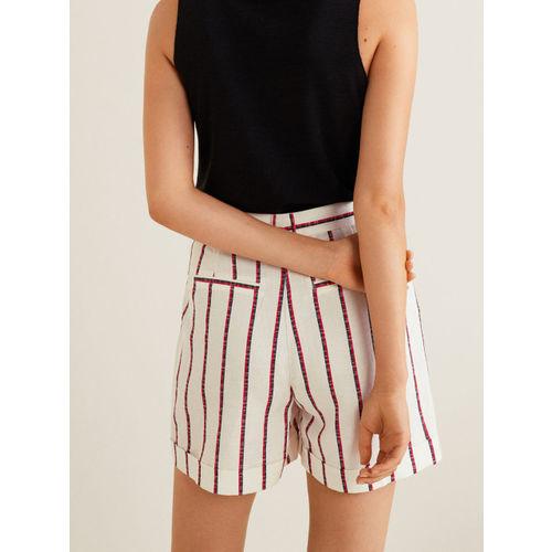 MANGO Women White & Red Striped Regular Shorts