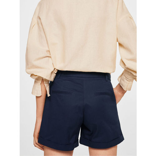 MANGO Women Navy Solid Regular Fit Shorts