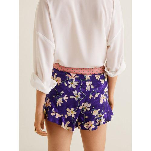 MANGO Women Purple Printed Regular Fit Regular Shorts