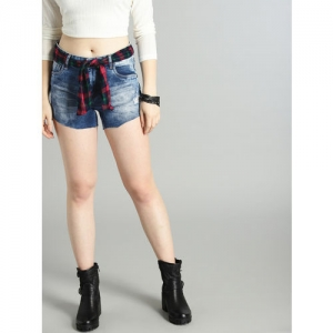 Roadster Women Blue Washed Regular Fit Distressed Denim Shorts