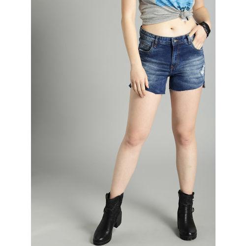 Roadster Women Blue Washed Regular Fit Distressed Denim Shorts