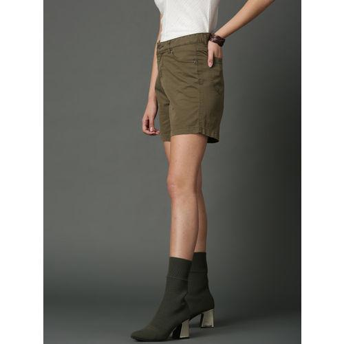 Roadster Women Olive Green Solid Regular Fit Shorts