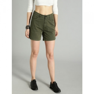 Roadster Women Olive Green Solid Regular Fit Regular Shorts