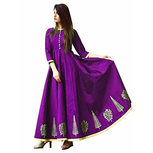 Lenira Creation Women's Semi Stitched Silk Anarkali Gown for all types of function(Free size)