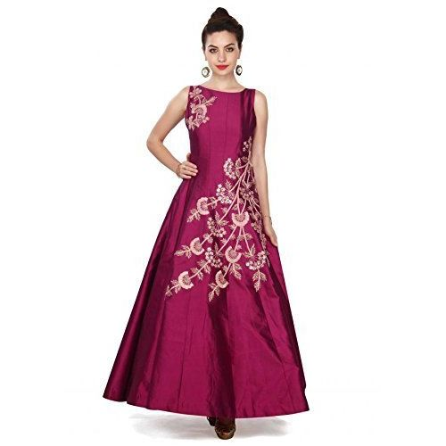 Omkar Fab Silk Gown (Om_12 Purple_Purple_Free Size)