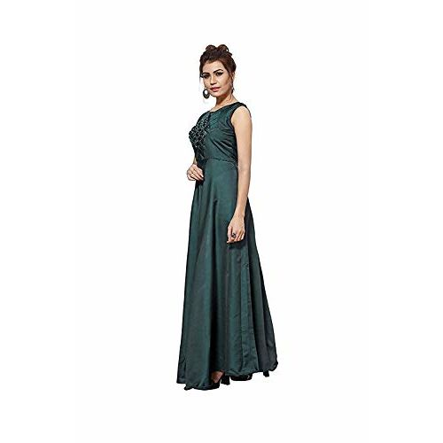 Ankit Textile Women's Twill Taffeta Satin Silk Designer Gown