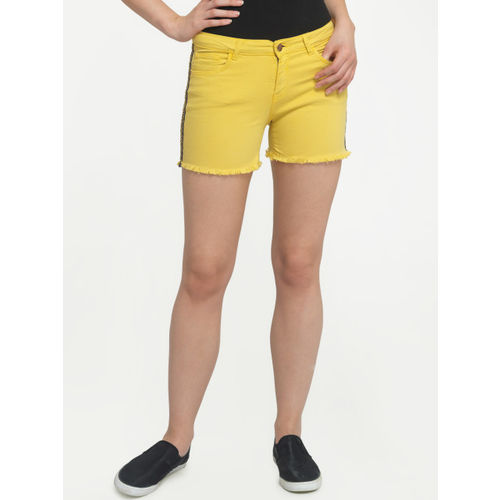 FREAKINS Women Yellow Solid Regular Fit Denim Shorts
