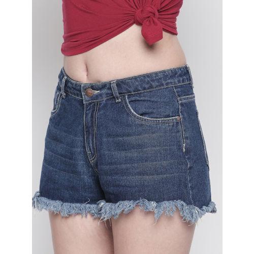 FREAKINS Women Blue Washed Regular Fit Denim Shorts