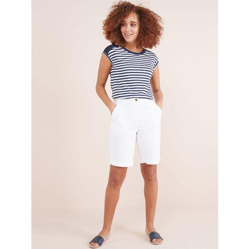 next Women White Solid Regular Fit Regular Shorts