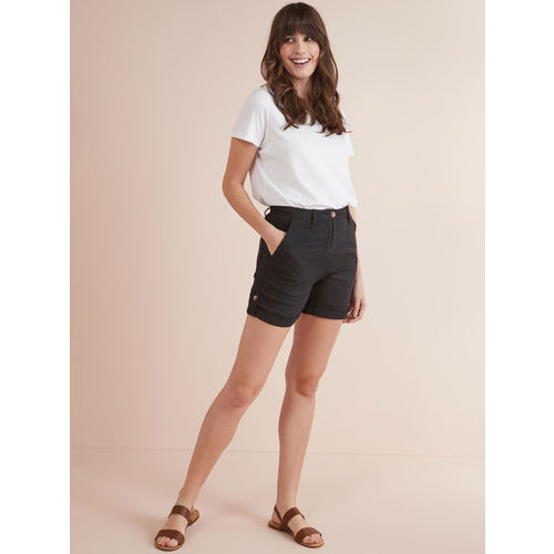 next Women Black Solid Regular Fit Regular Shorts