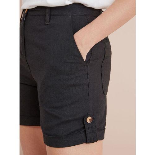 next Women Black Solid Regular Fit Regular Shorts