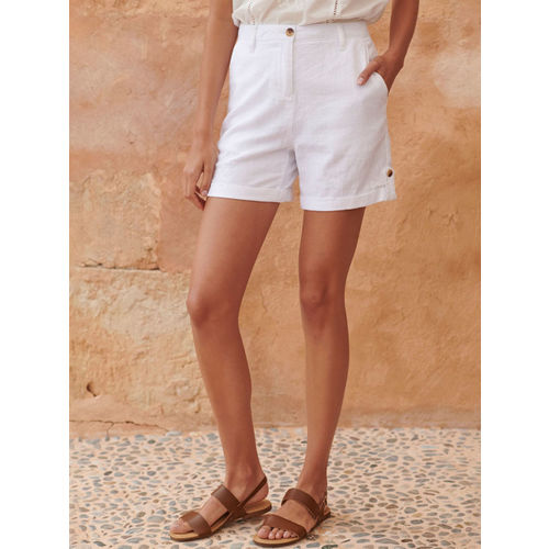 next Women White Solid Regular Fit Regular Shorts