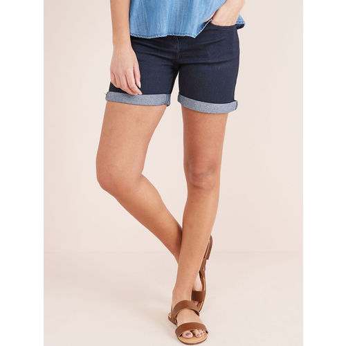 next Women Blue Solid Regular Fit Denim Shorts