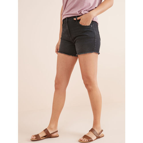 next Women Black Washed Regular Fit Denim Shorts