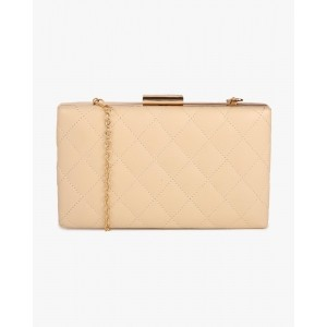 Lino Perros Beige Quilted Box Clutch