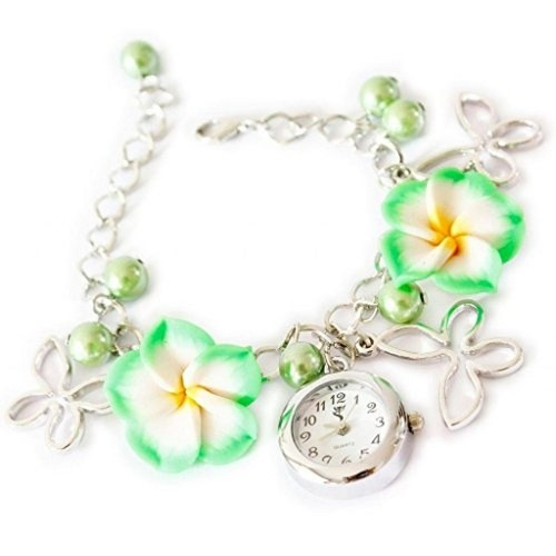 Girlz! Green Metal Bracelet With watch For Women
